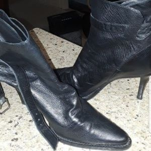 Soft leather ankle strap boots